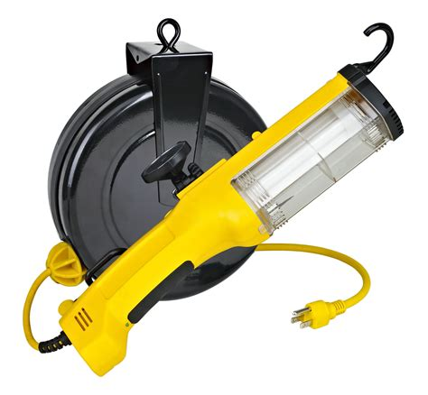 retractable led work light 26watt fluorescent retractable work light w outlet