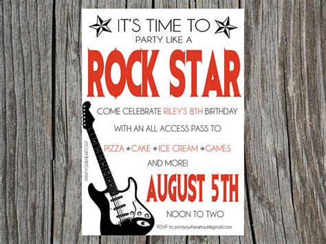 free printable rockstar birthday invitations printable rock star guitar birthday party by printyourheartout