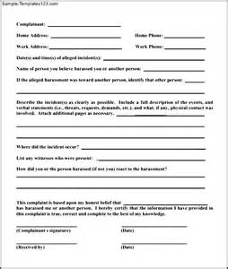 employee misconduct form template sle of employee complaint form sle templates