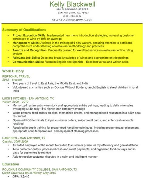 Resume Qualifications Exle by What To Put In Summary Of Qualifications On Resume 28