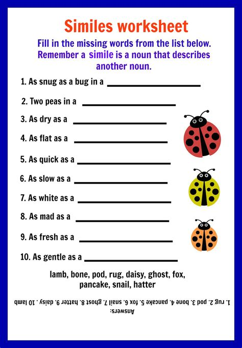 Simile Metaphor Worksheet