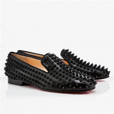 all black loafers mens chic christian louboutin rollerball spikes loafers all