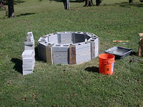 Round Cinder Blocks Beginning Of Fire Pit Serenity Cinder Block Firepit