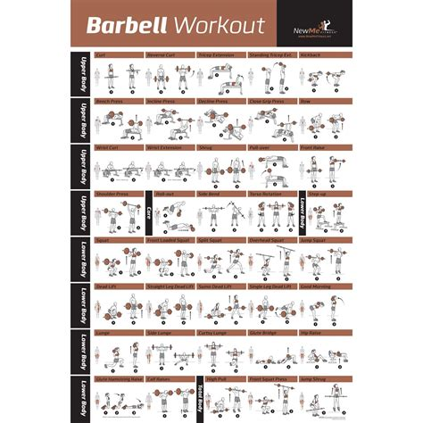 barbell workout exercise poster laminated home