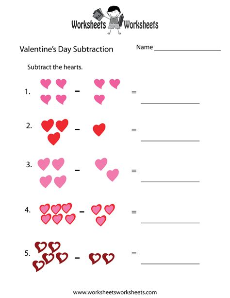 free printable worksheets valentine s day valentine s day subtraction worksheet free printable