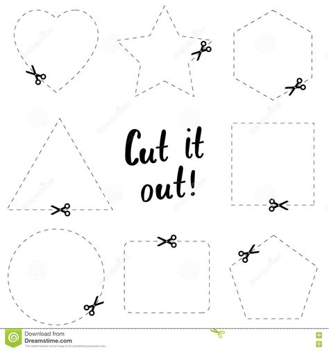 printable dotted line shapes cut it out flat template the scissors icon cut here