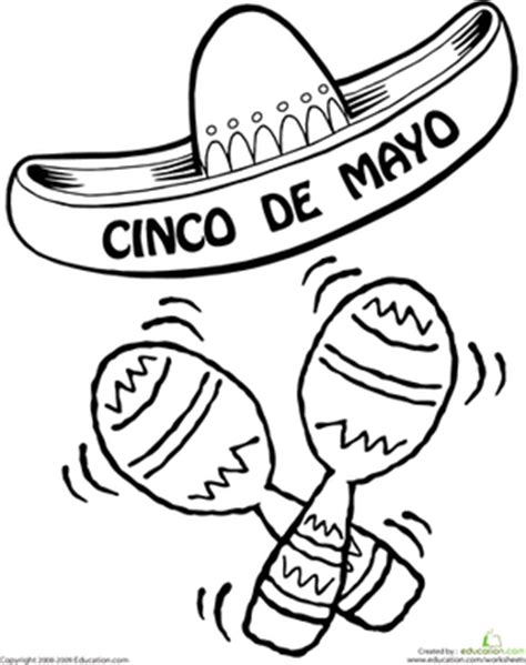 coloring pages for cinco de mayo color the cinco de mayo sombrero worksheet education com