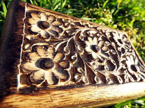 eco friendly home decor box wooden flower jewelry carved handmade home decor