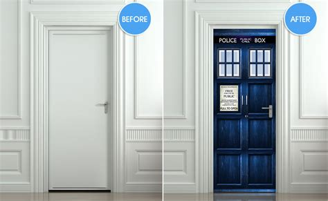 tardis wall mural dr who tardis diy 3d door wall mural phone box poster decal dvd sticker ebay