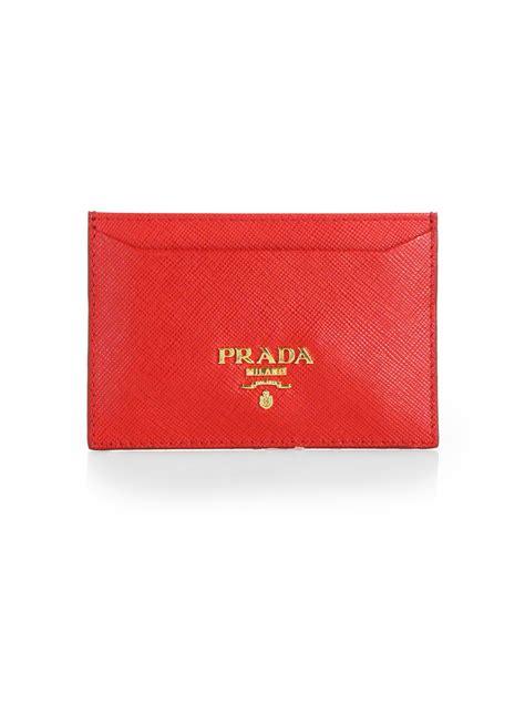 Prada Saffiano Credit Card Holder in Red   Lyst