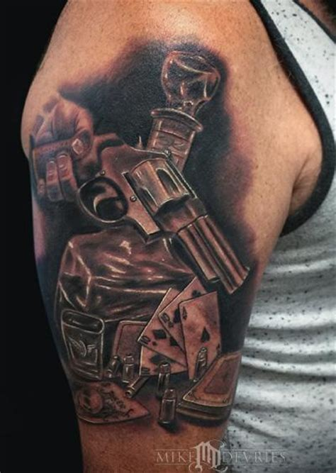 booze gun and cards by mike devries tattoonow