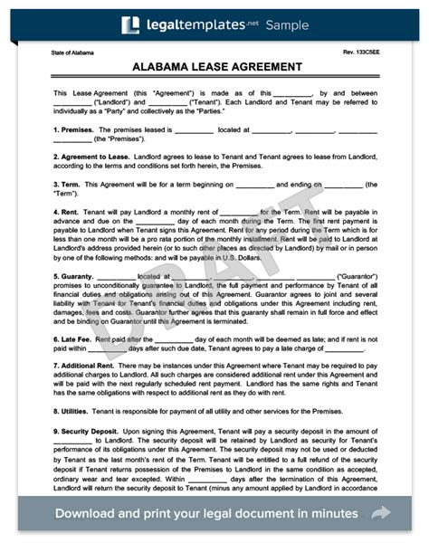 Alabama Residential Lease Rental Agreement Form Sle Free Pdf Alabama Lease Agreement Template