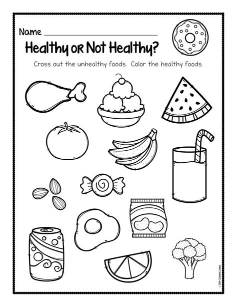 healthy foods worksheet free