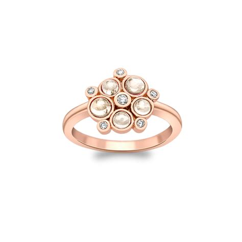 modern rose gold and moonstone bubble cluster ring