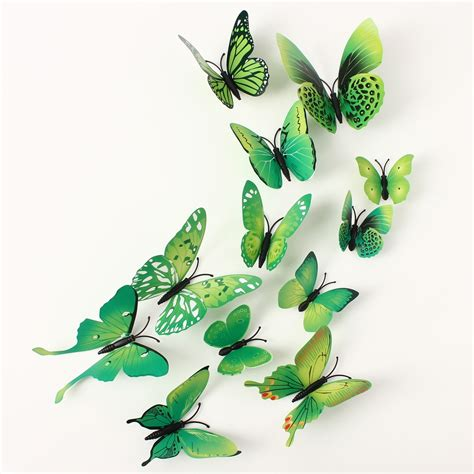 12pcs 3d wall stickers butterfly 12pcs 3d green butterfly wall stickers decals home