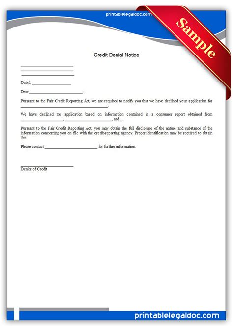 Credit Notice Form Free Printable Credit Notice Form Generic