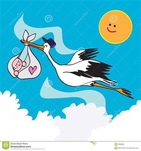clipart nascita bambino uccello e bambino della cicogna fotografie stock libere da