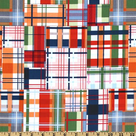 Patchwork Plaid Fabric - michael miller going coastal collection patchwork plaid