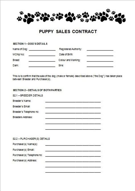 Items Similar To Puppy Sales Contract On Etsy Puppy Contract Template