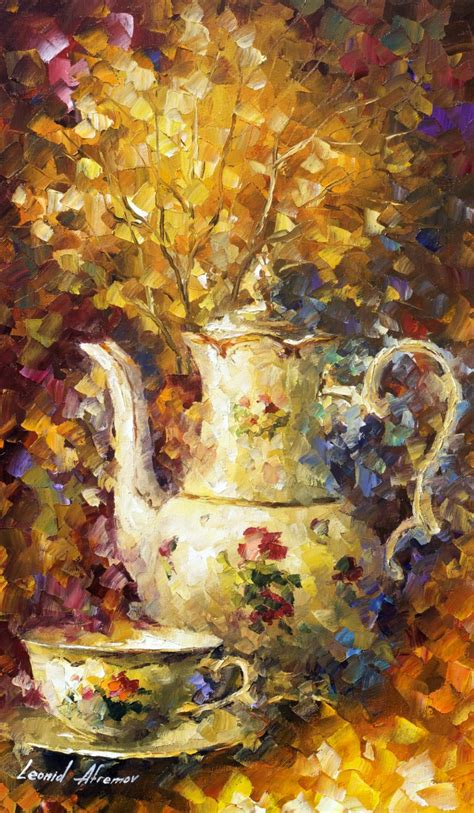 all painting 5 o clock tea original painting on canvas by leonid