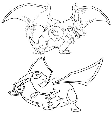 pokemon coloring pages flygon free charizard and flygon linearts by twarda8 on deviantart