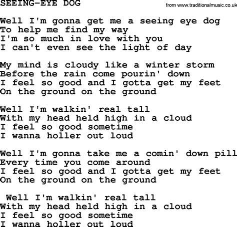 puppy lyrics seeing eye by merle haggard lyrics