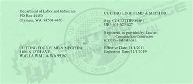 Washington State Plumbing License by Documents Cutting Edge Plumbing Mechanical
