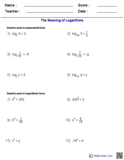 algebra 2 practice worksheets the meaning of logarithms worksheets algebra 2