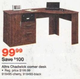 Altra Chadwick Collection Corner Desk Black Friday Deal Altra Chadwick Collection Corner Desk Virginia Cherry