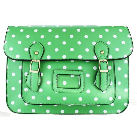 Bag Cambridge Satchel Polkadot by Camd1 Miss Lulu Large Satchel Polka Dot Green