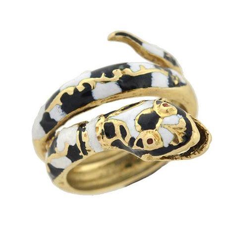 vintage 14kt black white enamel snake ring a brandt