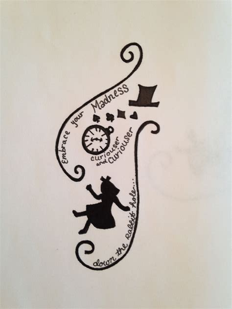tattoo designs alice in wonderland quot embrace your madness quot in design
