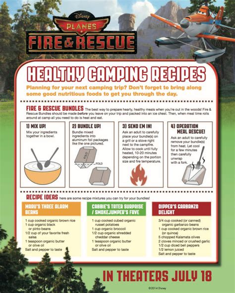 printable disney recipes disney planes fire rescue printable cing recipes