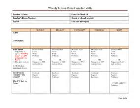 6 Week Lesson Plan Template by Weekly Lesson Plan Template Tristarhomecareinc