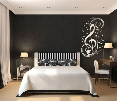 teen room black and white theme of boys bedroom concept