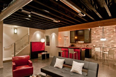 exposed basement ceiling ideas baroque stair railing designs in basement contemporary