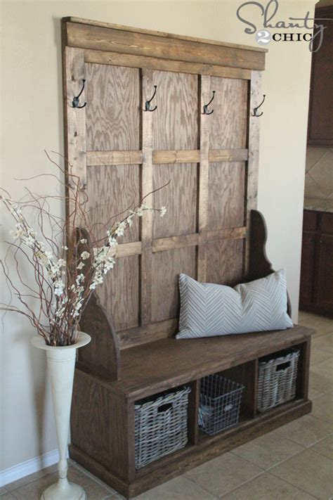 entryway bench with hooks pdf diy how to build a hall tree storage bench download
