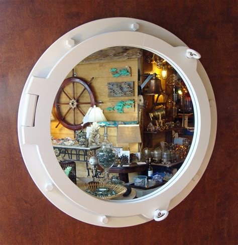 Porthole Windows Bathroom Decorating Large White Painted Nautical Porthole Style Mirror New Skipjack Nautical Wares