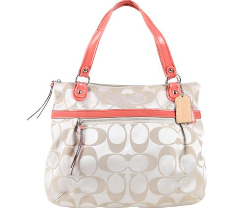 Tas Coach Set 6820 coach and orange poppy signature glam tote shoulder bag