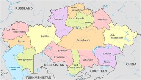 Datei:Kazakhstan, administrative divisions   de   colored