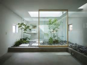 japanese style zen bathroom with courtyard interior