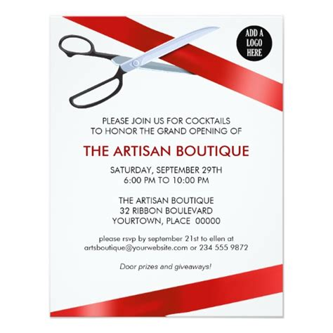 red ribbon cutting grand opening card zazzle com