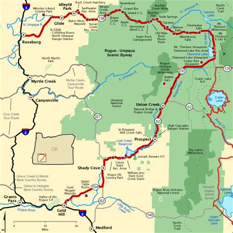 national scenic byways rogue umpqua scenic byway map america s byways