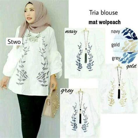 Gamis Motif Wanita Putih baju muslim atasan warna putih motif daun trial baju