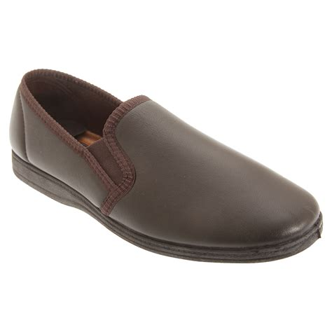 Sleeper For Mens Sleepers Mens Softie Leather Gusset Slippers Ebay