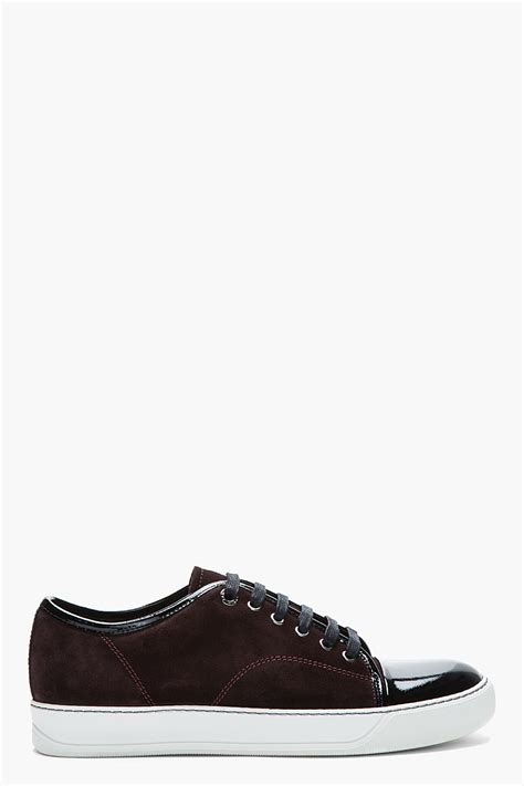 lanvin burgundy patent and suede tennis shoes in for