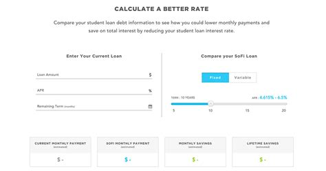 student loan calculator sofi