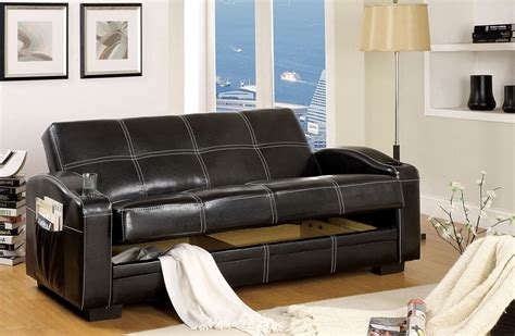 Black Leather Futon Bed Colona Black Leather White Stitching Futon Sofa Bed Magazine Pockets