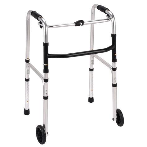 lightweight aluminium folding mobility zimmer walking frame with 2 wheels ebay