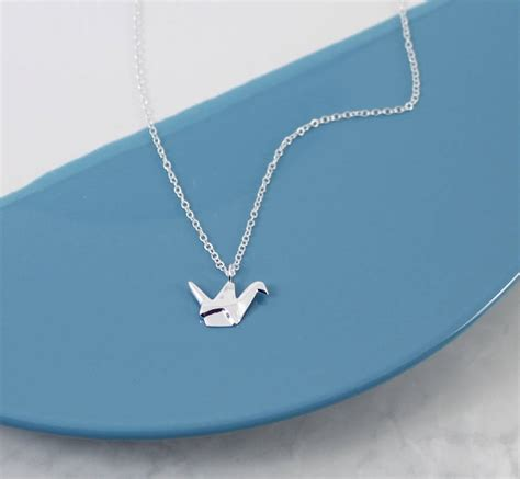 Silver Origami Crane Necklace - sterling silver origami crane necklace by neko